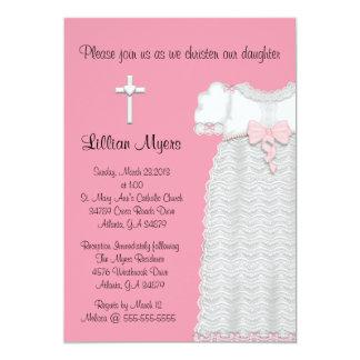 Chic Elegant Cross & Dress Baptism/Christening Card