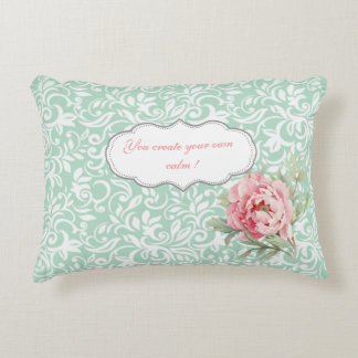 Chic Elegant  Damask, Roses,Motivational Message Decorative Pillow