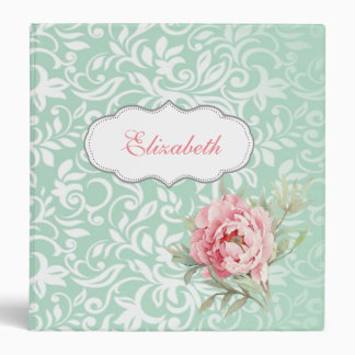 Chic Elegant  Damask, Roses,Personalized Binder