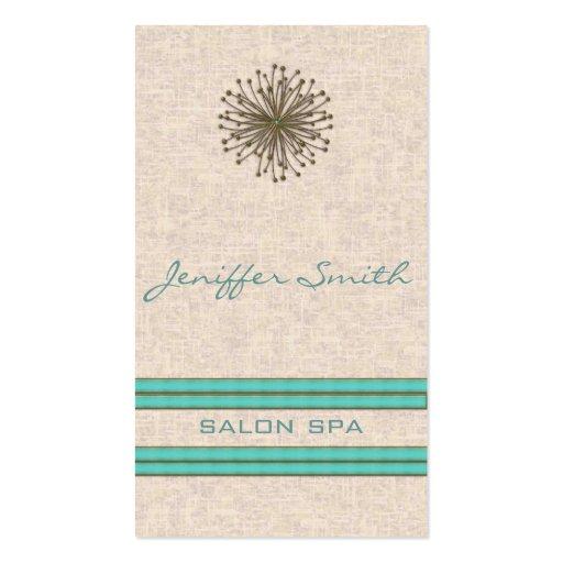 Chic elegant dandelion turquoise stripes business card