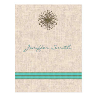 Chic elegant dandelion turquoise stripes postcard