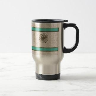 Chic elegant dandelion turquoise stripes travel mug