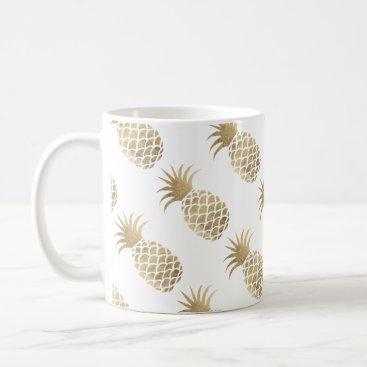 Coffee Themed Chic elegant faux gold pineapple coffee time coffee mug