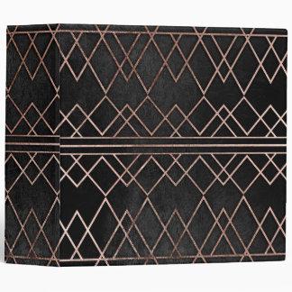Chic & Elegant Faux Rose Gold Geometric Triangles 3 Ring Binder