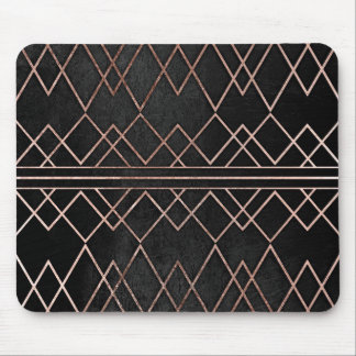 Chic & Elegant Faux Rose Gold Geometric Triangles Mouse Pad