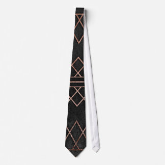 Chic & Elegant Faux Rose Gold Geometric Triangles Neck Tie