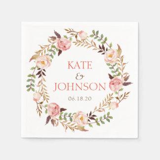 Chic Elegant Floral Wreath Personalized Wedding Paper Napkin