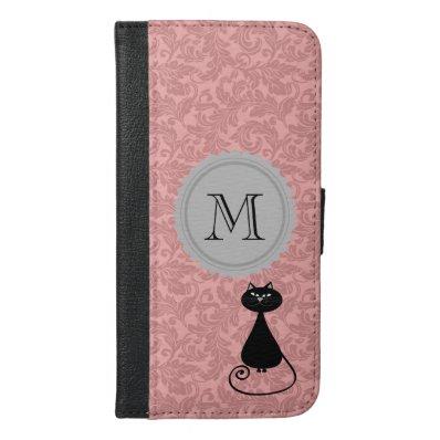 Chic elegant girly funny cat damask monogram iPhone 6/6S plus wallet case