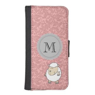 Chic elegant girly funny sheep damask monogram iPhone 5 wallets