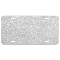 chic elegant glamour White Faux Glitter License Plate