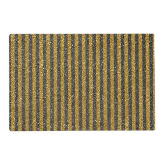 Chic Elegant Gold Black Stripes Glitter Print Placemat