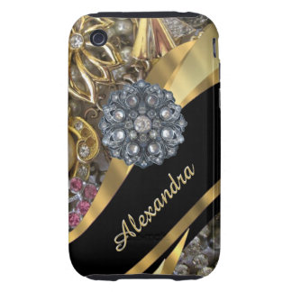 Chic elegant gold rhinestone bling personalized iPhone 3 tough cover