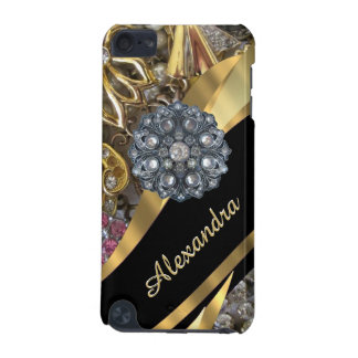 Chic elegant gold rhinestone bling personalized iPod touch 5G cases