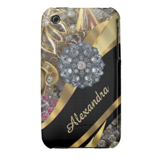 Chic elegant gold rhinestone bling personalized iPhone 3 cases