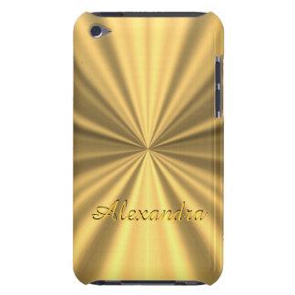 Chic elegant golden personalized faux metallic iPod Case-Mate case