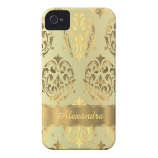 Chic elegant persnalized golden damask iPhone 4 Case-Mate case