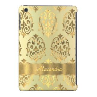 Chic elegant persnalized golden damask iPad mini cover