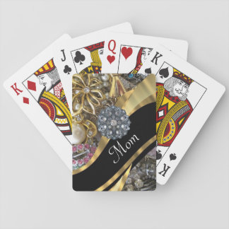 Chic elegant personalized mom playing cards