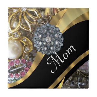 Chic elegant personalized mom tile