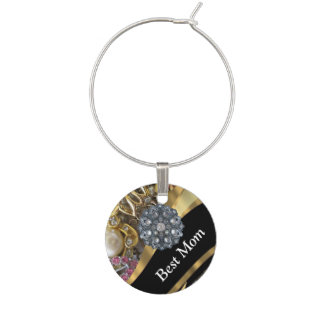 Chic elegant personalized mom wine charm
