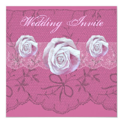 Chic elegant pink roses lace weddings invite