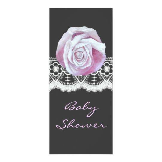 Chic elegant pinks roses girls baby shower invites