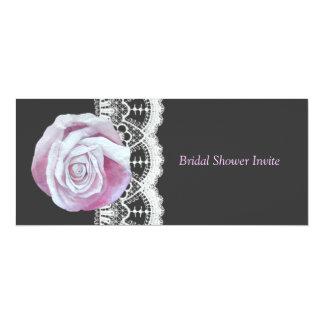 Chic elegant pinks roses lace bridal shower invite