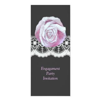 "Chic elegant pinks roses lace engagement invites 4"" x 9.25"" invitation card"