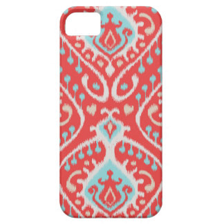 Chic elegant red and turquoise tribal ikat print iPhone 5 cover