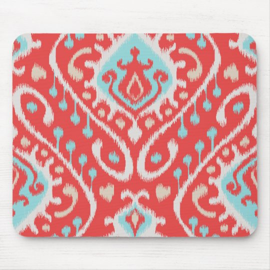 Chic elegant red and turquoise tribal ikat print mouse pad