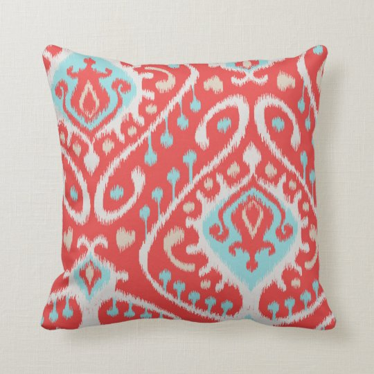 Chic elegant red and turquoise tribal ikat print throw pillow ... bb42ec212a