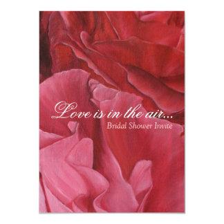 Chic elegant red roses bridal shower invites