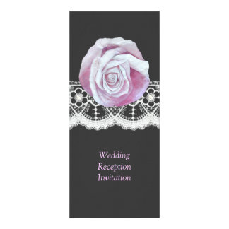 Chic elegant roses lace wedding reception invites