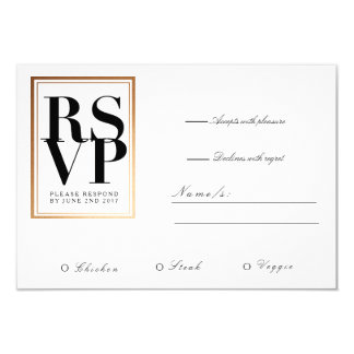 Chic & Elegant RSVP | Gold Foil Frame Accent Card