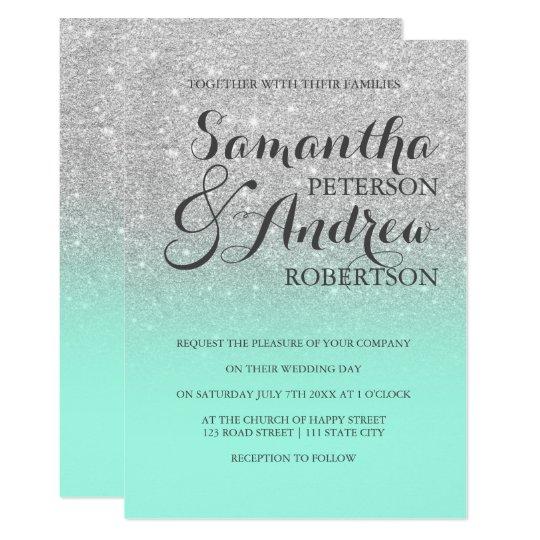 Chic Elegant Silver Glitter Mint Green Wedding Invitation Zazzlecom