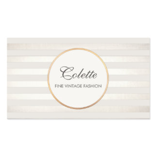 Chic Elegant Silver Striped Fashion and  Beauty Business Card