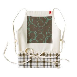 chic elegant trendy brown teal floral pattern rose zazzle HEART apron
