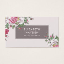 Chic elegant vintage Floral business card