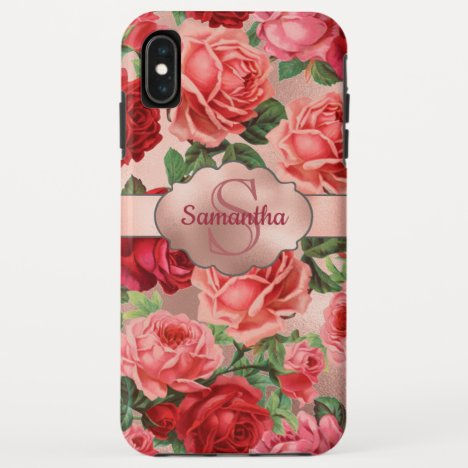 Chic Elegant Vintage Pink Red Roses Floral Name iPhone XS Max Case
