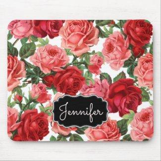 Chic Elegant Vintage Pink Red roses floral name Mouse Pad