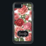 "Chic Elegant Vintage Pink, Red, roses floral name OtterBox Commuter iPhone 8/7 Case<br><div class=""desc"">Chic Elegant Vintage Pink, Pale violet red, roses floral name design. Romantic, girly design an elegant vintage floral pink, pale violet red roses with green leaves pattern on white background, at the bottom name on a black vintage label. There you can customize the name. This girly, colorful rose floral, name,...</div>"