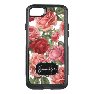 Chic Elegant Vintage Pink, Red, roses floral name OtterBox Commuter iPhone 8/7 Case