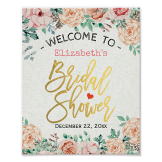 Chic Elegant Watercolor Floral Bridal Shower Sign