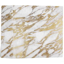 Chic Elegant White and Gold Marble Pattern Binder
