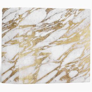 Chic Elegant White and Gold Marble Pattern Binder
