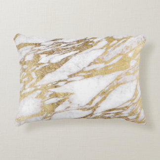 Chic Elegant White and Gold Marble Pattern Decorative Pillow