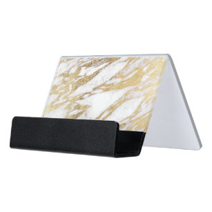 Elegancy business card holders zazzle chic elegant white and gold marble pattern desk business card holder colourmoves