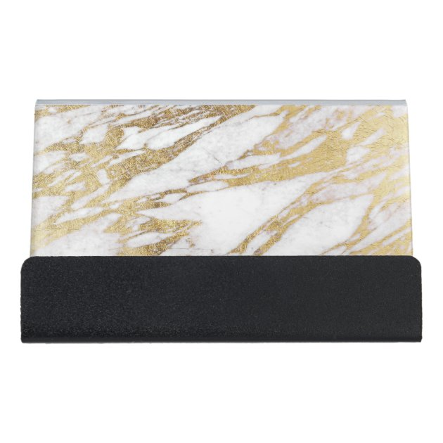 Chic Elegant White and Gold Marble Pattern Desk Business