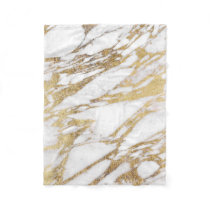 Chic Elegant White and Gold Marble Pattern Fleece Blanket