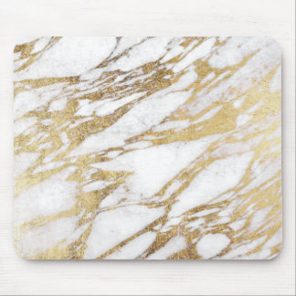 Chic Elegant White and Gold Marble Pattern Mouse Pad